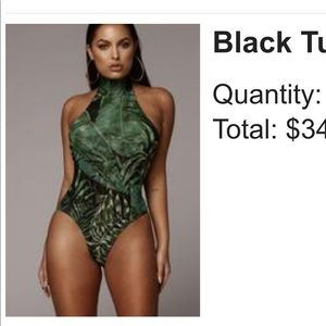 Tropical black and green body suit
